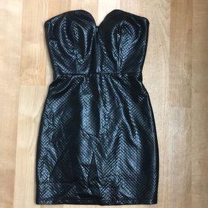 Sweetheart foe leather mini dress